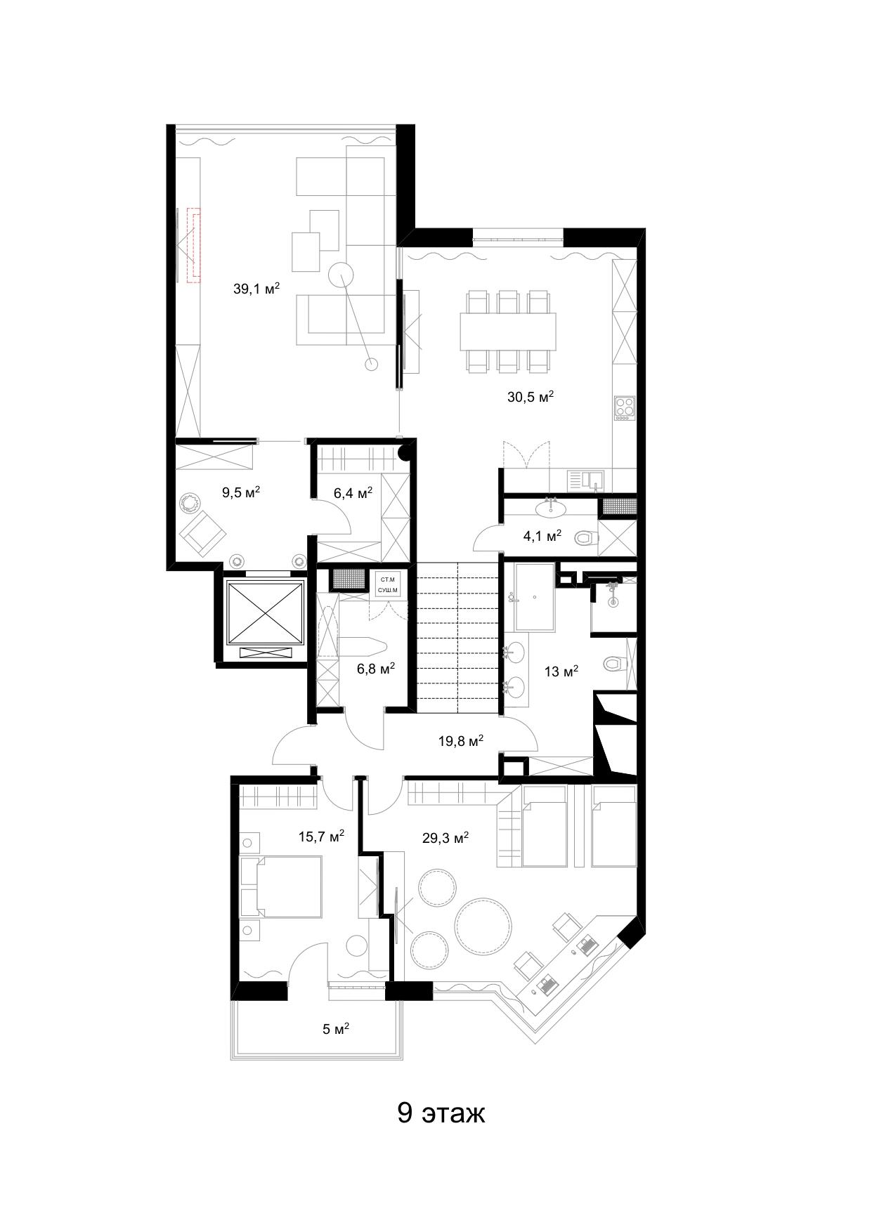 Планировочные решения трехуровневой квартиры 280 кв.м. с террасой в 123 кв.м. на Петроградском о-ве.
